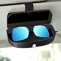 Switty - Soporte para gafas de sol para coche, universal, con caja de almacenamiento para gafas de sol y tarjetero para visera de sol, color negro