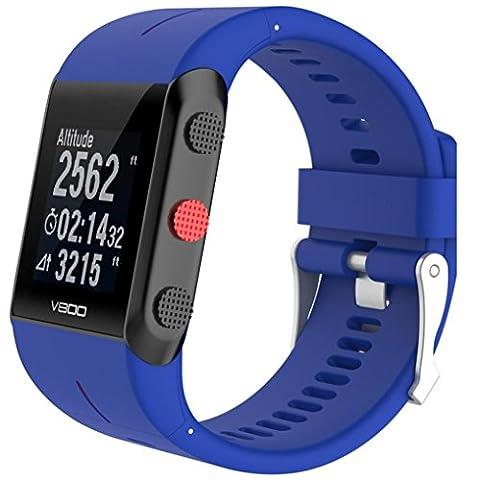 JANLY Bracelet en caoutchouc silicone pour montre Polar V800 Watch (Bleu)