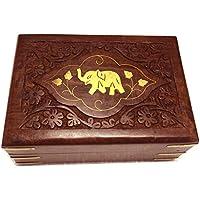contenitore di monili di legno, elefante singolo con contenitore intaglio, scatola d'epoca, 6x4 pollici