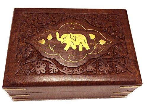 Regalo il vostro San Valentino giorno speciale contenitore di monili di legno, elefante singolo con contenitore intaglio, scatola d'epoca, 7X5inch