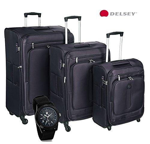 Set tre Trolley DELSEY. 55, 68 e 78 cm. TSA. Orologio Omaggio. Listino € 397,00 (Nero)