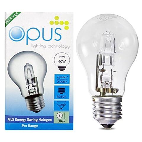 5 x Ampoules GLS Halogènes 28W = 40W Culot a Vis ES E27
