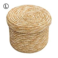 QueenHome Straw Storage Baskets Round Woven Basket Multipurpose Hand Made Wheat Woven Organizer Bag with Removable Lid for Living Room Bedroom, L