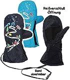 Unbekannt Fäustlinge / Fausthandschuhe - Größe 3 bis 4 Jahre -  Ski Abfahrt / dunkel blau  - LEICHT anzuziehen ! mit Daumen - Reißverschluss & langem Schaft __ Wasser..