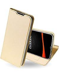 OJBKase Funda Xiaomi Redmi Note 8, Premium Piel Sintética Billetera Carcasa Protectora Cartera con Interior de TPU [Magnética] [Soporte Plegable] [Ranuras para Tarjetas] (Oro)