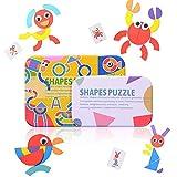 HellDoler Tangram Puzzle Bambini,36 Pezzi Tangram Legno Puzzle in Legno Tangram Montessori Giocattoli con 50 Carte di Design