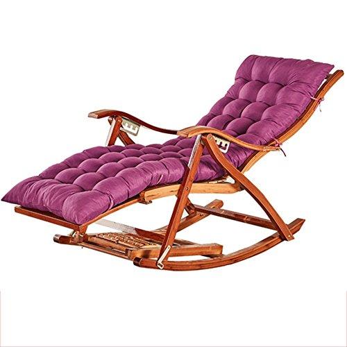 Fauteuil Inclinable En Bambou Chaise Longue Pliante En Bambou Naturel Design Ergonomique Réglable À 170 ° (version Allongée De Coussin Violet)