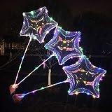 """KOBWA - Globos de Látex con luz LED DE 16"""", 5 Unidades, con Alambre de Cobre LED, Forma de Estrella/Corazón, Perfecto para Decoración de Fiesta, Cumpleaños, Bodas, Navidad, Día de San Valentín"""