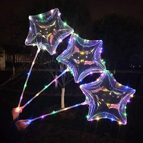 Bunte BoBo Luftballons-5 Pack-Clear Latex Leuchten Ballon mit LED Kupferdraht, Stern/Herzform, Perfekt für Party Dekorative, Geburtstag, Hochzeit, Weihnachten, Valentinstag ()