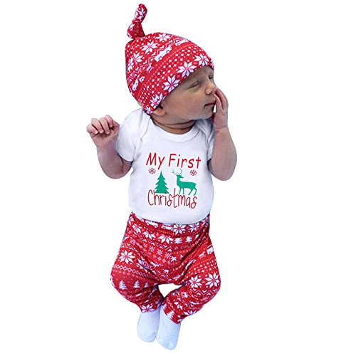 Säuglingsbaby Mädchen Jungen *My First Halloween *Pumpkin Romper Kürbis Spielanzug Top + Hosen + Hut Halloween Kleidung Satz (6-12 Monate, Y-Weiß1-Christmas) (Top 11-halloween)