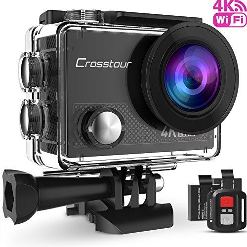 Crosstour Action Cam Sport-Kamera 4K Wifi Camera mit Fernbedienung Ultra HD 30M Unterwasserkamera 170°Ultra-Weitwinkel 2' LCD mit 2 Wiederaufladbare 1050mAh Batterien und kostenlose Accessoires
