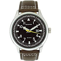 SEKONDA GENTS BROWN DIAL EASY READ BROWN LEATHER STRAP WATCH WITH DATE COUNTER & 50 METERS WATER RESISTANT - 3882 -