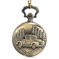 UNIQUEBELLA Pocket watch-Quartz-Men/ Women/ Children-Vintage-Alloy Chain/Necklace-B5-B053 Bronze-Car