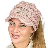 Womens Beanie Tail Warm Knit Messy High Bun Ponytail Visor Beanie Cap Best Gift,9 Colors