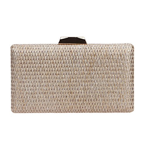 Bonjanvye Weave Purse for Women Bags Fashion Clutches and Evening Bags Gold