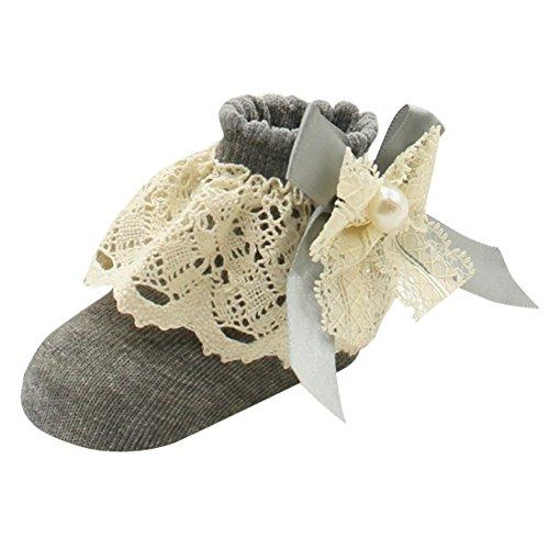 MORESAVE Baby Mädchen Socken mit Spitze Rüsche Frilly Breathable weiche Baumwoll Boots Socken 0-12 Monate