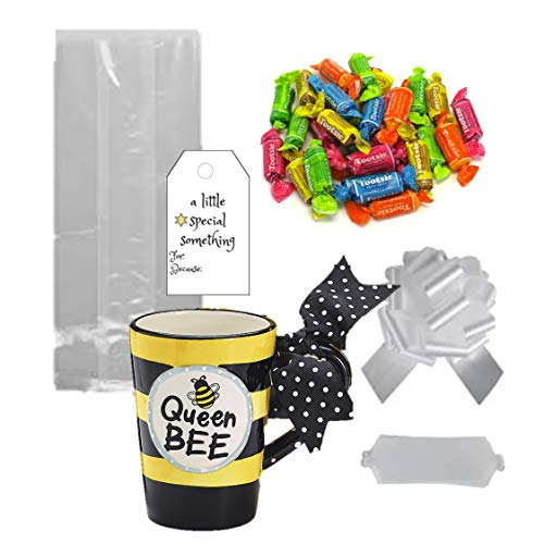 Tootsie Kaffeetasse mit Fruchtigkeitsmuster - 1 Bienenenkönigin 313 ml Keramiktasse Tootsie Roll Fruity Candy Cellophan Bag Tag mit Schleife (Rolls Tootsie Candy)