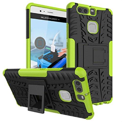 Apanphy Huawei P9 Plus Hülle, Kick-Ständer Rugged stoßfest Handy Schutzhülle Silikon Tasche Ständer Hülle Case mit Standfunktion für Huawei P9 Plus, grün