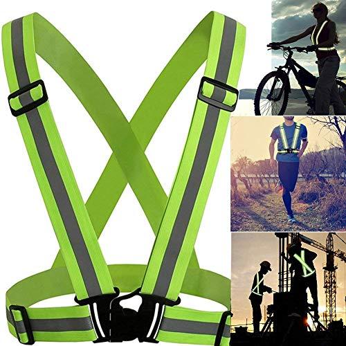 Kobwa riflettente gilet, strisce riflettenti di sicurezza ad alta visibilità bande, elastica e regolabile da corsa riflettente Gear per uomini e donne per Night running,passeggiate, (Green)