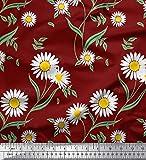 Soimoi Rot Seide Stoff Blätter & Daisy Blumen- Stoff