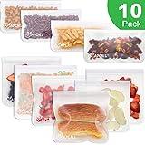 Bolsas de almacenamiento reutilizables biodegradables - Paquete de 10 bolsas de sándwich reutilizables a prueba de fugas