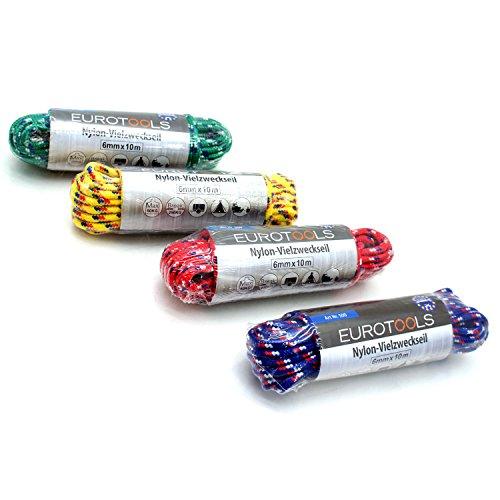 MASTERP–Nailon universal cuerda (10m, 6mm de grosor) verde cuerda, extra ligero, soporta hasta 50kg
