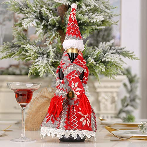 Hefine Christmas Decorations Wine Bottle Covers,Handmade Knitted Scarf Hat Skirt Wine Bottle Bags for Home Party Decor Lovely Novelty Decorative Best for Holiday Party Wedding New Year (Red)
