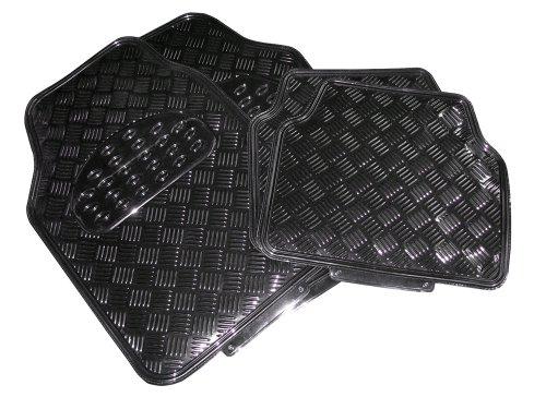Preisvergleich Produktbild Eufab 28223 Fußmatten-Set 4-teilig, Kunststoff, schwarz, Tränenblechdesign mit Trittschutz und Gummirücken