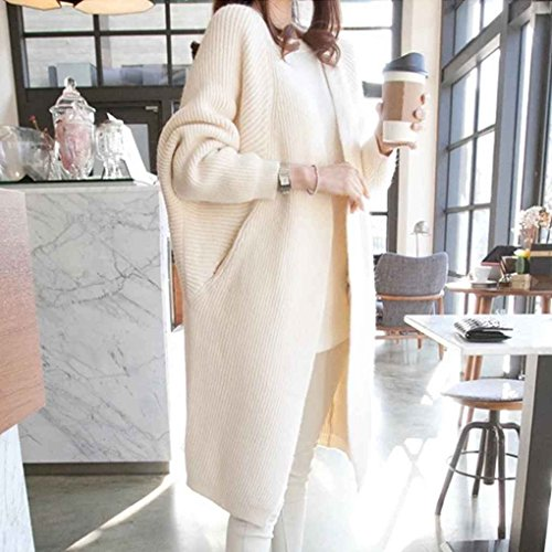 Masterein Femmes à manches longues Cardigan Pulls Automne Automne Hiver Casual Knit Loose Jumper Outwear Pockets Cardigan Beige