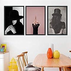Idea Regalo - NR Donna Sexy Tela Pittura Bella Ragazza Carattere Dito Medio Poster Arte della Parete Pittura Immagini per Soggiorno Decorazioni per la casa -50x70cm Senza Cornice