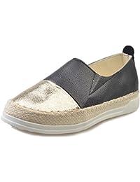 Zapatillas de Moda Alpargatas para Mujer Plano Cuero Verano Slip on Zapatos Negro Blanco 34-43