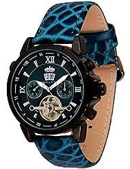 Lindberg & Sons Reloj Automático piraeus Esfera de Color Turquesa y Correa de piel azul oscura