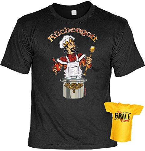 Koch T-Shirt Küchengott Catering Shirt geil bedruckt Geschenk Set mit Mini Flaschenshirt Schwarz