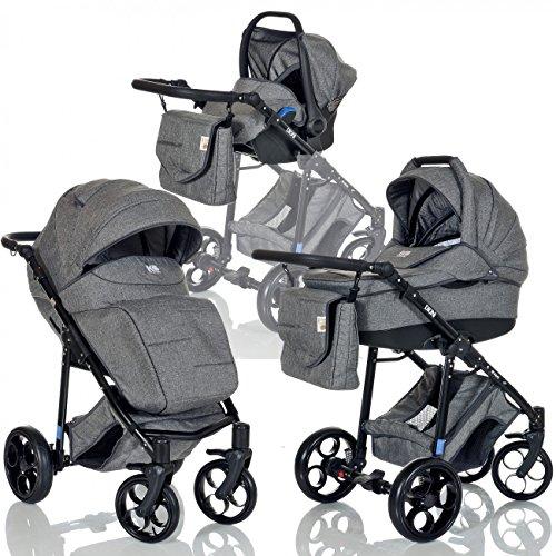*LCP Kids 3-in-1 Kombi-Kinderwagen Set ab Geburt – Leichtgängig – Reifen mit Pannenfrei Garantie Grau*