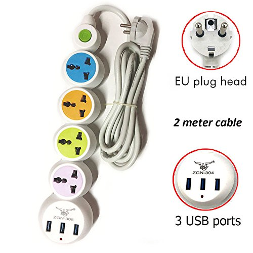 EU regleta mesa Conector Toma de corriente múltiple Cable alargador 4 conector 3 puertos USB Enchufe varios enchufe de tensión con control de lámpara 2 m Cable 2500 W/10 A Blanco PC Fuego fija Shell para TV, ordenador, tablet, iPhone