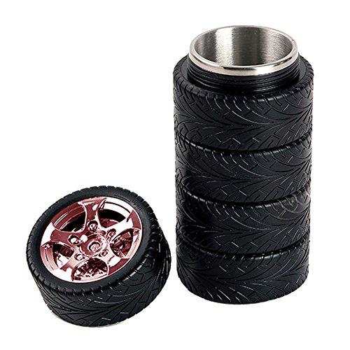 Gossip Boy Tasse bouteille durable, 320 ml, design pneu, tasse à café, thé, en acier inoxydable, pour l'intérieur, l'extérieur, le sport, mug personnalisée, joli cadeau pour la voiture, le bureau, l'école, rouge vin