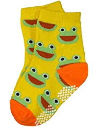 BOMIO | ABS Socken in farbenfrohem Design Frosch | Antirutsch Baby-Söckchen aus hautfreundlichem Material | Stoppersocken | Hervorragende Passform