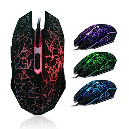 WINWINTOM Los ratones coloridos profesionales de retroiluminación 4000 ppp óptico con cable ratón para