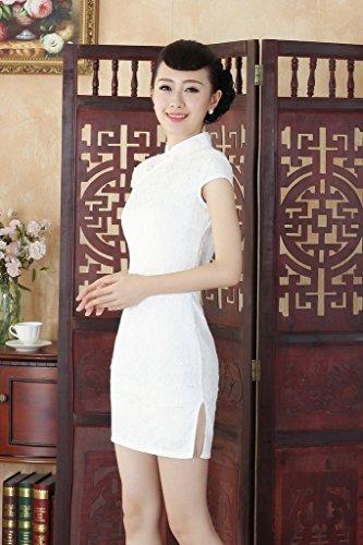 Smile YKK Femme Robe Courte Cheongsam Rétro Elégante Dentelle Blanc