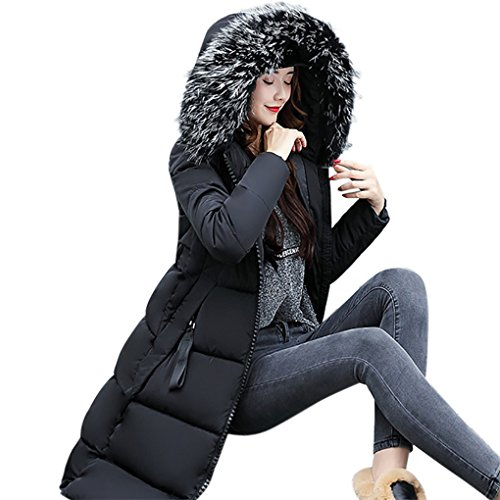 Frauenkleidung❀❀ JYJMFrauen-feste beiläufige dickere Winter-dünne unten Lammy-Jacken-Mantel-Mantel (M, Schwarz) (Breasted Kragen Double Wolle)