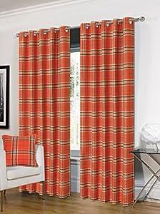 "Tartan Orange Beige Check Plaid Woven Lined 66"" X 90"" - 168cm X 229cm Ring Top Curtains by Curtains Unique"