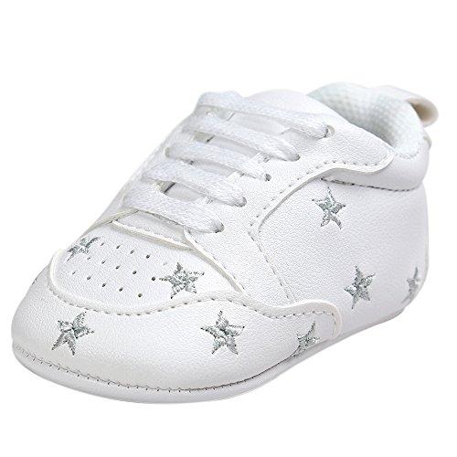 FNKDOR Baby Sternchen Schuhe Jungen Mädchen Weiß Lauflernschuhe Krabbelschuhe, 0-18 Monate (0-6 Monate, Silber)
