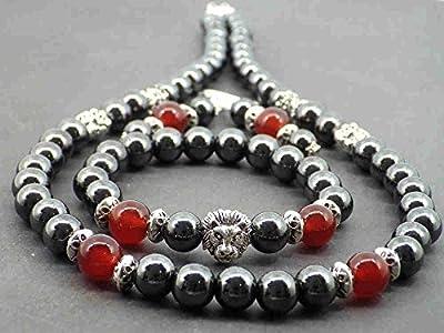 Parure Venezia Thurcolas avec perles en hématite agate rouge et têtes de lion