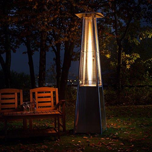 Pyramid Living Flame Garden Gas Patio Heater U2013 Floor Standing In Stainless  Steel U2013 Total Height 221cm U2013 Includes Regulator And Hose