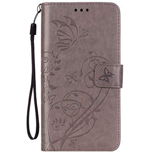 ISAKEN Huawei G8 Hülle, PU Leder Brieftasche Wallet Case Cover Ledertasche Handyhülle Tasche Schutzhülle mit Handschlaufe Standfunktion für Huawei G8 / Huawei GX8 - Blume Schmetterling Grau