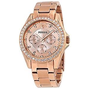 Reloj Fossil ES2811 de cuarzo para mujer con correa de acero inoxidable bañado, color dorado de Fossil