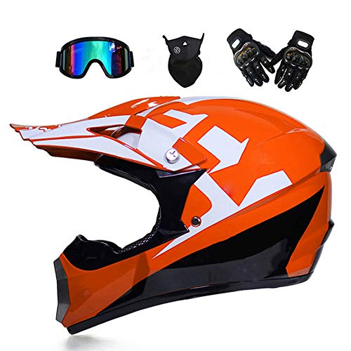 TKGH Motocross Helm mit Visier Brille Handschuhe Maske, Full Face Motorrad-Helm für Off-Road Enduro Schutzhelm Moped ATV BMX Sport Adventure Mountain Motorrad Cross Helm Set Damen Herren,Orange,S