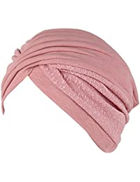 Vovotrade Mujer India Sombrero musulmán Volante fruncido Gorrita Bufanda Turbante Cabeza Envolver Gorra Otoño Invierno ropa Decoración (pink)