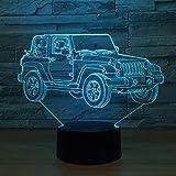 Veilleuse 3D Jeep 7 Couleurs Usb Lumière Chambre Bureau Décoration Intérieure Lampe De Table Lampe De Table Enfant Nuit Lumière Cadeau De Noël @ Touch_Switch_7_Colors_Change