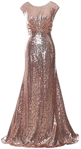 MACloth Elegant Sequin Long Bridesmaid Dress Cap Sleeve Formal Party Prom Gown Rose Gold